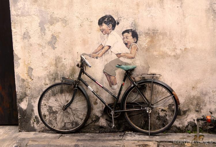 """Little Children on a Bicycle"" Mural, Armenian Street"